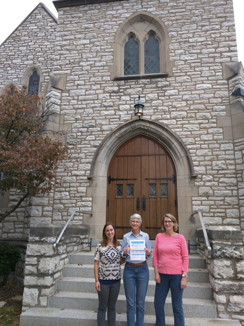Johanna Schweiss (USGBC-MGC), Cindy Gross (Bethel Lutheran Church Green Team), and Linda Daniel (USGBC-MGC) with Bethel Lutheran Church's final ENERGY STAR Application.